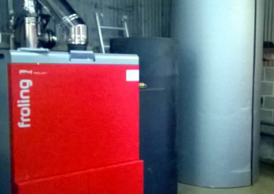 Froling P4 100kW biomass boiler and buffer tank