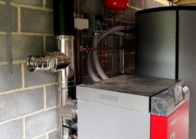 Froling PE1 - 20kW Wood Pellet Boiler and flue