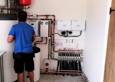 Stiebel Eltron Air Source Heat Pump SBB301 Hot water cylinder and underfloor heating manifold
